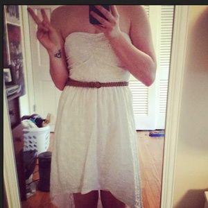 White Strapless Hi-Low Dress